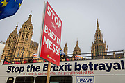 As Prime Minister Theresa May prepares to sell her Brexit deal ahead of five days of debate and eventual vote in parliament, both pro-EU Remainers and Brexiteers protest their ideals outside the House of Commons, on 4th December 2018, in London, England. This week will be a vital step for Mays Premiership and the UKs Brexit status.