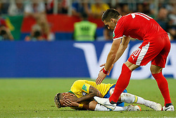 June 27, 2018 - Moscou, Rússia - MOSCOU, MO - 27.06.2018: SERBIA VS BRAZIL - Neymar Jr. of Brazil falls on the pitch after playing with Serbia's Dusan Tadic during a match between Serbia and Brazil, valid for the thirund of group E of the 2018 World Cup, held ald at the Otkrytie Arena in Moscow, Russia. (Credit Image: © Marcelo Machado De Melo/Fotoarena via ZUMA Press)