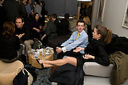 JAMES MACPHERSON; SARAH UBSDELL IN THE COLLECTORS LOUNGE. Preview evening for the London Art Fair. Business Design Centre. Islington. London. 13 January 2009.  *** Local Caption *** -DO NOT ARCHIVE -Copyright Photograph by Dafydd Jones. 248 Clapham Rd. London SW9 0PZ. Tel 0207 820 0771. www.dafjones.com<br /> JAMES MACPHERSON; SARAH UBSDELL IN THE COLLECTORS LOUNGE. Preview evening for the London Art Fair. Business Design Centre. Islington. London. 13 January 2009.