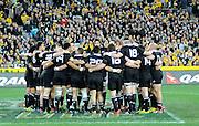 All Blacks huddle, Rugby Championship. Australia v All Blacks at ANZ Stadium, Sydney, New Zealand. Saturday 18 August 2012. New Zealand. Photo: Richard Hood/photosport.co.nz