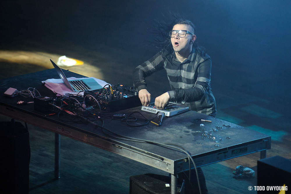 Skrillex performing at the Pageant in St. Louis, Missouri on July 12, 2011. © Todd Owyoung.