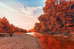 Indian Summer Colors Along Buffalo National River in Arkansas