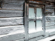 Winter at a fishermans summer cottage in Kalapirtit fishing village in Finnish Lapland on 14th February 2018. Kalapirtit is situated on Jerisjarvi lake in Pallas-Yllastunturi National Park, the third largest national park in Finland