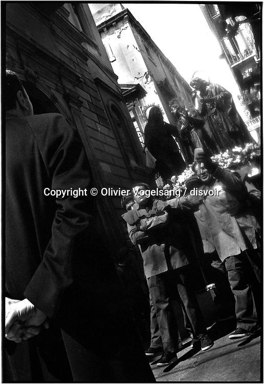 Italy. Sicily. Procession on Good Friday to Trapani. Procession semaine sainte, vendredi saint à Trapani