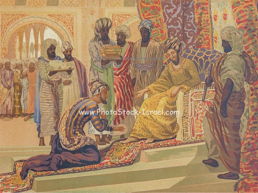 Avicenna [Avicena] being received by the governor of Isfahan [Ispahan]. Ibn Sina AKA Abu Ali Sina or Pur Sina and known in the west as Avicenna [Avicena] (c.980 – June 1037) was a Persian polymath who is regarded as one of the most significant physicians, astronomers, thinkers and writers of the Islamic Golden Age, and the father of early modern medicine. From La ciencia y sus hombres : vidas de los sabios ilustres desde la antigüedad hasta el siglo XIX T. 1 [Science and it's people Vol 1] by Luis Figuier ; traducción de la tercera edición francesa por Pelegrin Casabó y Pagés ; ilustrada por Armet, Gomez, Martí y Alsina, Planella, Puiggarí, Serra,  Printed in Barcelona in 1879