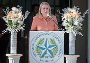 Texas Senator Sylvia Garcia comments during a ceremony to rename Jackson Middle School to Navarro Middle School in honor of Yolanda Black Navarro, October 5, 2016.