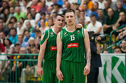 Jan Span and Gregor Hrovat of Petrol Olimpija during basketball match between KK Krka Novo mesto and  KK Petrol Olimpija in 4th Final game of Liga Nova KBM za prvaka 2017/18, on May 27, 2018 in Sports hall Leona Stuklja, Novo mesto, Slovenia. Photo by Vid Ponikvar / Sportida