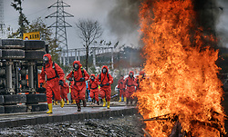 Nov. 20, 2018 - Ningqiang, China - Rescuers take part in an emergency exercise simulating hazardous chemicals transportation accident at Ningqiang County of Hanzhong City, northwest China's Shaanxi Province. The exercise was conducted to help enhance capabilities to respond to the emergency. (Credit Image: © Tao Ming/Xinhua via ZUMA Wire)