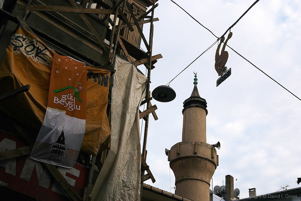 The minaret of an old mosque in Cihangir, near Taksim, Istanbul.