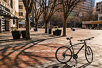 Once again, my bike provides foreground interest to detract from deserted Westlake Park, one of Downtown Seattle's premier locations for outdoor activities, public protests, and socializing. (March 21, 2020).