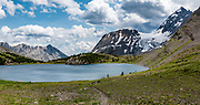 Beatty Glacier, seen across Maude Lake at North Kananaskis Pass in Peter Lougheed Provincial Park, Kananaskis Country, Alberta, Canada. This image was stitched from multiple overlapping photos.