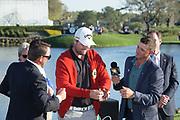 Marc Leishman (AUS) winner of the The Arnold Palmer Invitational Championship 2017, with Sam Saunders and Graeme McDowell. At  Bay Hill, Orlando,  Florida, USA. 19/03/2017.<br /> Picture: PLPA/ Mark Davison<br /> <br /> <br /> All photo usage must carry mandatory copyright credit (© PLPA | Mark Davison)