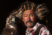 Kazakh eagle hunter<br /> Mongolia's largest ethnic minority<br /> near Altai Sum, Bayan Olgii<br /> Western Mongolia
