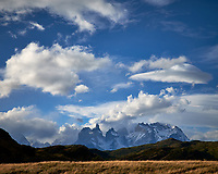 Sky, Clouds, and Mountains in Torres del Paine National Park. Image taken with a Fuji X-T1 camera and Zeiss 32 mm f/1.8 lens.
