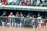 Miguel Cabrera (24) of the Detroit Tigers celebrates in the dugout after hitting his 30th home run of the season during a game against the Minnesota Twins on August 15, 2012 at Target Field in Minneapolis, Minnesota.  The Tigers defeated the Twins 5 to 1.  Photo: Ben Krause