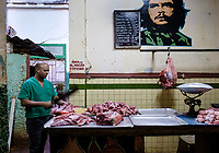 HAVANA, CUBA - CIRCA JANUARY 2020: Portrait of a butcher in  Havana.