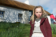 28/03/2016 Blaithin ni Mhainnin Pictured at Pearse's Cottage, Teach an Phiarsaigh, in Rosmuc in Connemara during a special broadcast of RTÉ Raidió na Gaeltachta programme Adhmhaidin on Easter Monday 28 March 2016.  <br /> <br /> Patrick Pearse used the cottage as a summer house, and also as summer school for his pupils from St Enda's school in Dublin.  He was inspired by the people and the culture of the area, and it is said that he composed the graveside oration he gave at O'Donovan Rossa's funeral in 1915 there.<br /> <br /> The broadcast was to commemorate the centenary of the Easter Rising, and also marked 30 years on air for the programme.  <br /> Photo:Andrew Downes, xposure.