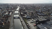 Aerial Photos of Dublin city Centre During Travel Restrictions, 3-4-20, 3rd March 2020, Covid 19, Friday Morning, Rush Hour, showing almost, Empty Streets, as people, curtail all but essential movment, Ireland, and Irish are doing thier best to reduce risk to others, Rory O'Moore, James Joyce, Liam Mellows. Fr Matthew, Bridge, Ushers Island, Guinness's, liffey Photos, Photo, Snap, Streets, Street,