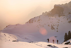 Ski mountaineers climbing on snowy mountain, Tyrol, Austria
