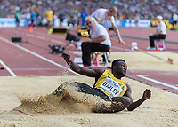 Athletics - 2017 IAAF London World Athletics Championships - Day One<br /> <br /> Event: Men's Long Jump Qualifying<br /> <br /> Ramone Bailey (JAM) lands in the sand box  <br /> <br /> COLORSPORT/DANIEL BEARHAM