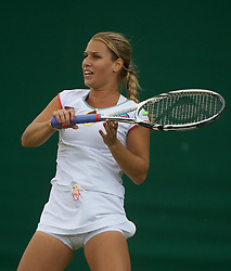 LONDON, ENGLAND - Thursday, June 23, 2011: Dominika Cibulkova (SVK) in action during the Ladies' Singles 2nd Round match on day four of the Wimbledon Lawn Tennis Championships at the All England Lawn Tennis and Croquet Club, EXPA Pictures © 2011, PhotoCredit: EXPA/ Propaganda/ *** ATTENTION *** UK OUT!
