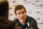 Burton Albion manager Nigel Clough gives a post match press conference during the EFL Sky Bet Championship match between Leeds United and Burton Albion at Elland Road, Leeds, England on 9 September 2017. Photo by John Potts.