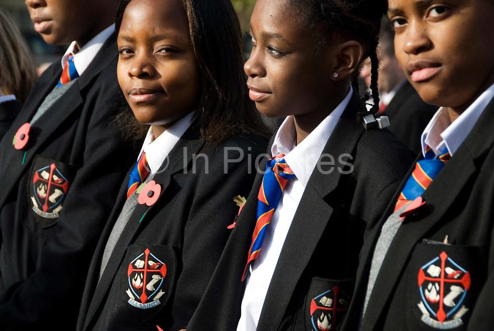 November 11th 2008. Rememberance Day. Trafalgar Square, London. Pupils from Dagenham East London.