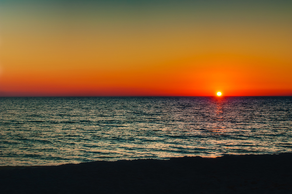 A clear sky, yet a vibrant sunset on an early fall evening on Longboat Key.