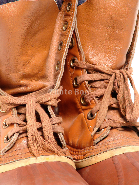 Close up of a pair used cold weather boots.