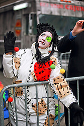 17 Feb 2015. New Orleans, Louisiana.<br /> Fat Tuesday. Mardi Gras Day. Faces in the crowd. A woman dressed up in costume for the day.<br /> Photo; Charlie Varley/varleypix.com