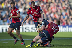March 30, 2019 - Edinburgh, Scotland, United Kingdom - Magnus Bradbury of Edinburgh tackled by Rory Scannell of Munster during the Heineken Champions Cup Quarter Final match between Edinburgh Rugby and Munster Rugby at Murrayfield Stadium in Edinburgh, Scotland, United Kingdom on March 30, 2019  (Credit Image: © Andrew Surma/NurPhoto via ZUMA Press)