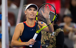 October 3, 2018 - Caroline Wozniacki of Denmark celebrates winning her second-round match at the 2018 China Open WTA Premier Mandatory tennis tournament (Credit Image: © AFP7 via ZUMA Wire)