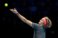 Alexander 'Sasha' Zverev of Germany serves during the Nitto ATP World Tour Finals at the O2 Arena, London, United Kingdom on 16 November 2018. Photo by Martin Cole