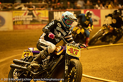 Indian Motorcycle Super Hooligan team racer Jordan Graham (47) in the Born-Free 10 Stampede flat track races in the City of Industry where classes ranged from Pull Start minis, Tank Shift, Vintage Singles & Open Twins, XR 75, ladies, Hooligans and more. Thursday night before the big chopper show June 21, 2018. Photography ©2018 Michael Lichter.