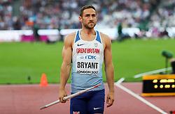 London, August 12 2017 . Ashley Bryant, Great Britain, the men's decathlon javelin on day nine of the IAAF London 2017 world Championships at the London Stadium. © Paul Davey.