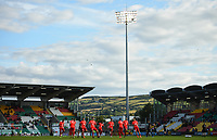 18 July 2019; SK Brann players warm up ahead of the UEFA Europa League First Qualifying Round 2nd Leg match between Shamrock Rovers and SK Brann at Tallaght Stadium in Dublin. Photo by Eóin Noonan/Sportsfile
