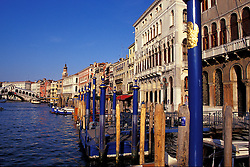 Venice, Italy: View of the Grand Canal, with the Rialto Bridge in the background, left.