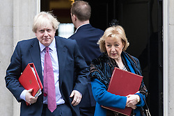 © Licensed to London News Pictures. 07/03/2017. London, UK. Foreign Secretary Boris Johnson (L) and Secretary of State for Environment, Food and Rural Affairs Andrea Leadsom (R) leave 10 Downing Street. Photo credit: Rob Pinney/LNP