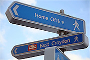 Signpost to the Croydon Home Office, which houses the headquarters of the Border and Immigration Agency.