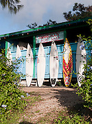 Surfboards lined up at a Surf Shop in O'Ahu, Hawai'i