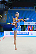 Kosoulieva Angela of Poland competes during the rhythmic gymnastics individual hoop qualification of the World Cup at Adriatic Arena on April 10, 2015 in Pesaro, Italy.<br /> Angela was born in Gdynia, Poland in 1999.