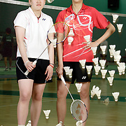 ORANGE, CA, January 3, 2008: Top badminton players, including Eva Lee, left, and May Magkalakiri,, train at the Orange County Badminton Club in Orange, California and are likely team USA members.