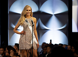 December 6, 2019, Atlanta, Georgia, USA: Anni Harjunp, 23, introduces herself as preliminary duding for the 2019 Miss Universe pageant begins. She hadnt entered any beauty pageants  until this year, when she was crowned Miss Finland. (Credit Image: © Robin Rayne/ZUMA Wire)