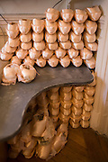 Pointe shoes belonging to prima ballerina, Dorothée Gilbert in her dsressing room at the Palais Garnier, Paris. <br /> <br /> From the chapter entitled 'Etoile' and from the book 'Risk Wise: Nine Everyday Adventures' by Polly Morland (Allianz, The School of Life, Profile Books, 2015). <br /> <br /> FOR REPRODUCTION OTHER THAN RELATED TO THE BOOK 'RISK WISE', PERMISSION FROM DOROTHEE GILBERT IS REQUIRED.