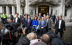 © Licensed to London News Pictures. 24/09/2019. London, UK. Businesswoman GINA MILLER is seen surrounded by her legal team while speaking to media as she leaves The Supreme Court in London following a ruling on an appeal against a judicial review of Boris Johnson's suspension of Parliament. The case has been brought by remain campaigner Gina Miller, with support from former British Prime Minister John Major. Photo credit: Ben Cawthra/LNP