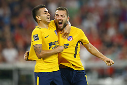 August 2, 2017 - Munich, Germany - Angel Correa and Keidi Bare of Atletico de Madrid celebration after the goal scored during the Audi Cup 2017 match between Liverpool FC and Atletico Madrid at Allianz Arena on August 2, 2017 in Munich, Germany. (Credit Image: © Matteo Ciambelli/NurPhoto via ZUMA Press)