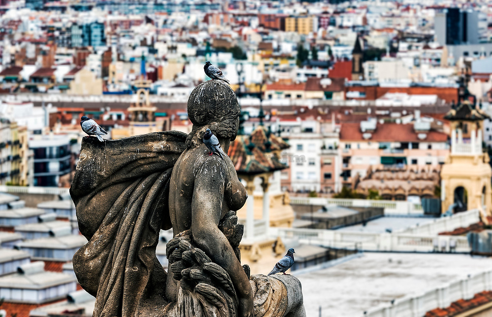 City view from the steps of the Museu Nacional d'Art de Catalunya, Barcelona, Spain