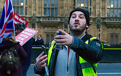 Pro-Brexit campaigner James Goddard once again visits and attempts to disrupt Steve Bray's SODEM anti-Brexit protest the day after he was seen harassing former cabinet minister Anna Soubry. Westminster, London, December 20 2018.