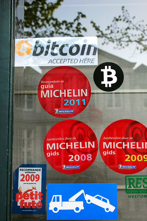 Bitcoin accepted here sign, Bruges, Belgium