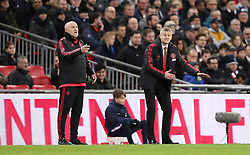 Manchester United interim manager Ole Gunnar Solskjaer (right) gestures on the touchline